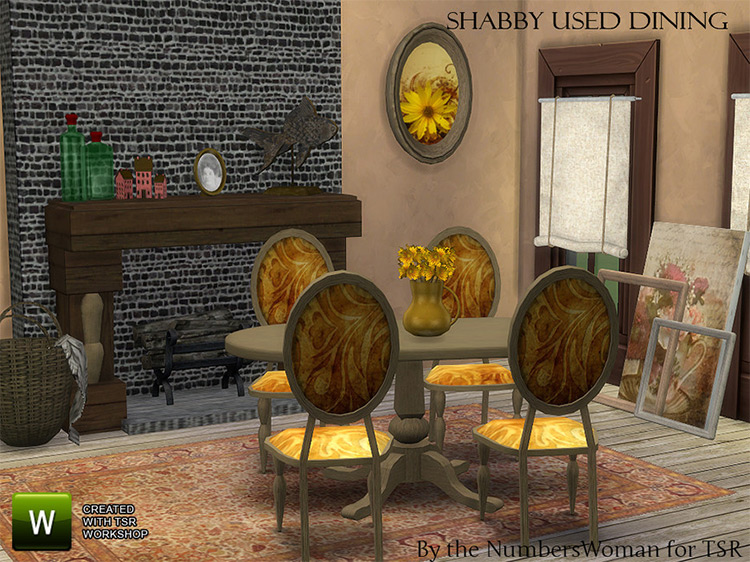 Shabby Chic Dining Room Set / Sims 4 CC