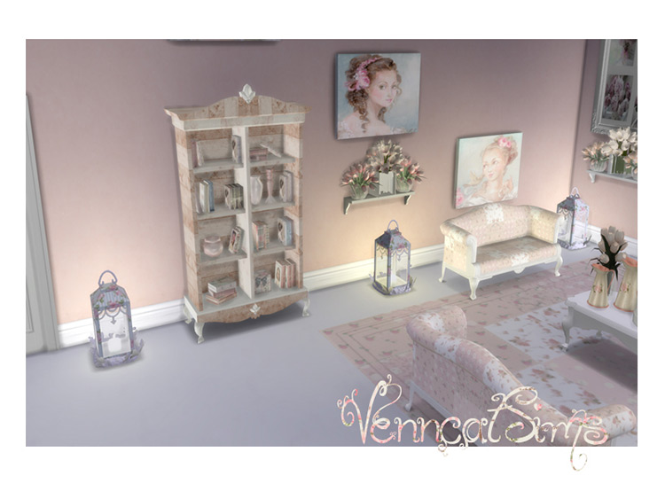 Shabby Chic Rustic Bookcase for The Sims 4