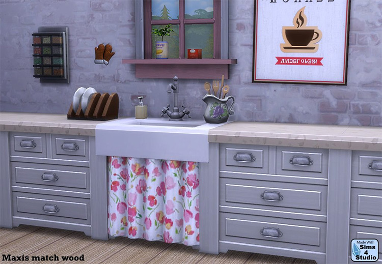 Single Pipe Sink with Curtain / Sims 4 CC