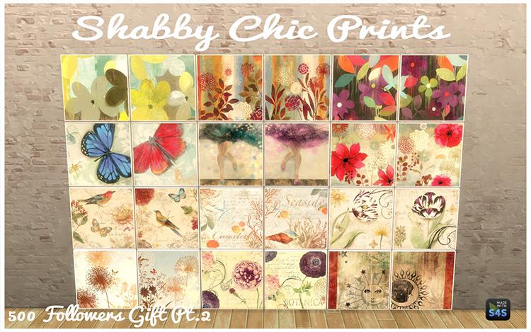 Boho & Shabby Chic Paintings / Sims 4 CC