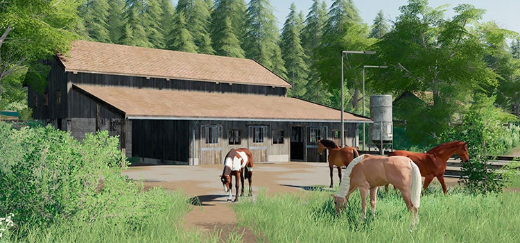 Horse Stable with Horses Grazing / FS19 Mod Preview