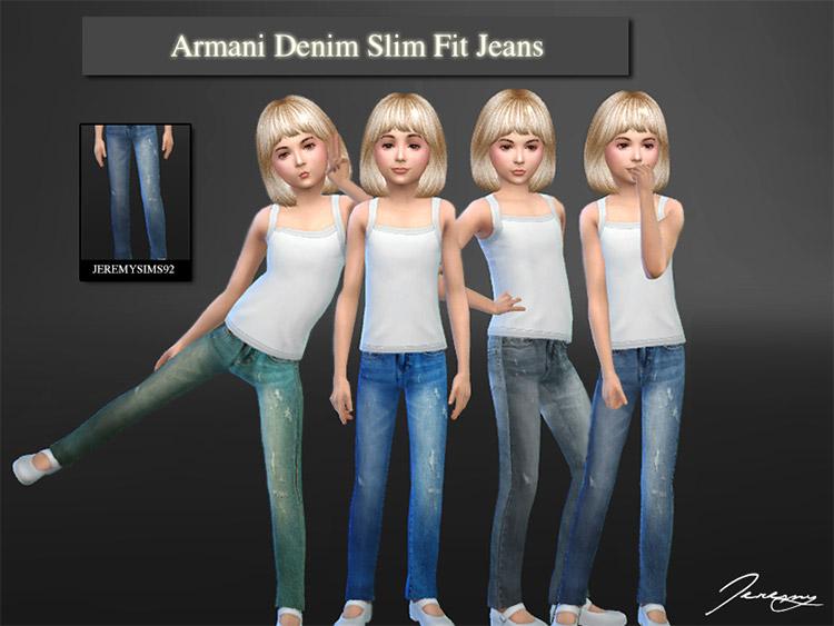 Denim Slim Fit Jeans for Girls / Sims 4 Armani CC