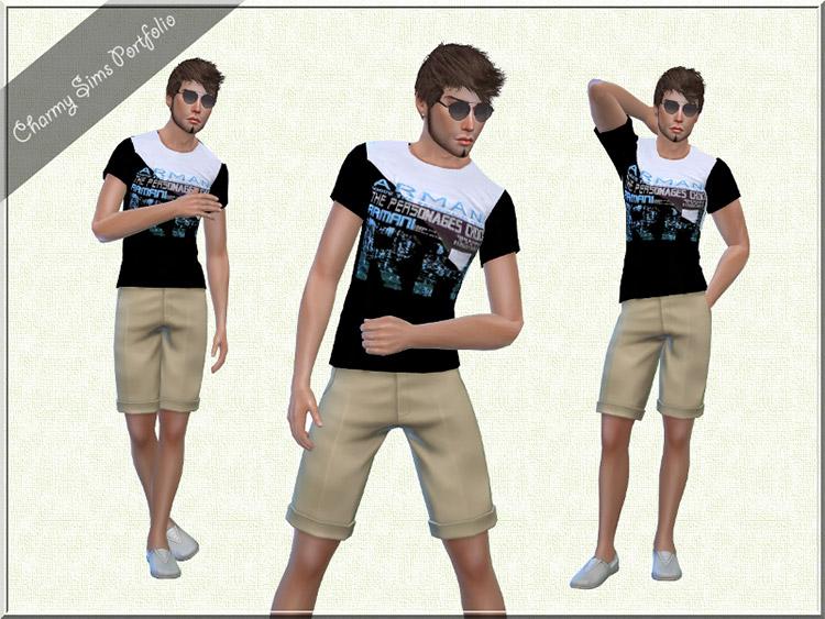 Armani T-shirt for guys / Sims 4 CC