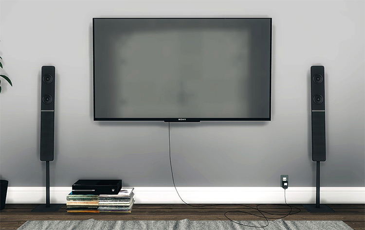 Sony KDL50W800B Wall Mounted TV for The Sims 4
