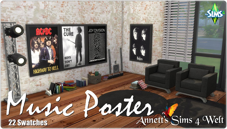 Music Poster Set CC for The Sims 4