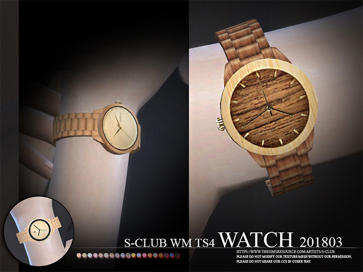 Wood Style Watch / Sims 4 CC