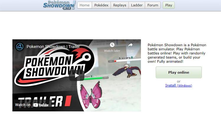Pokémon Showdown Website Preview Screenshot