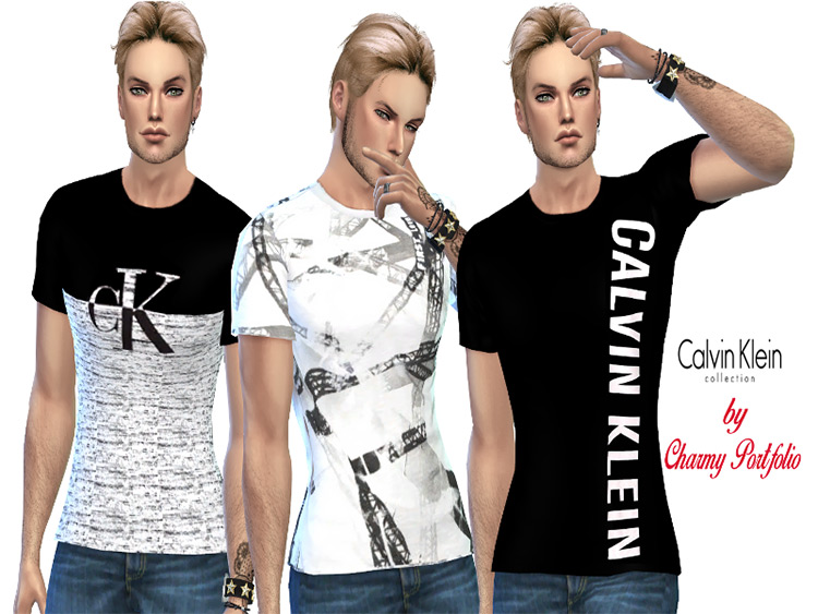 Classic Calvin Klein Men's T-Shirts for Sims 4