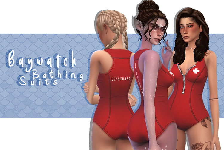 Female Baywatch Bathing Suits CC for The Sims 4