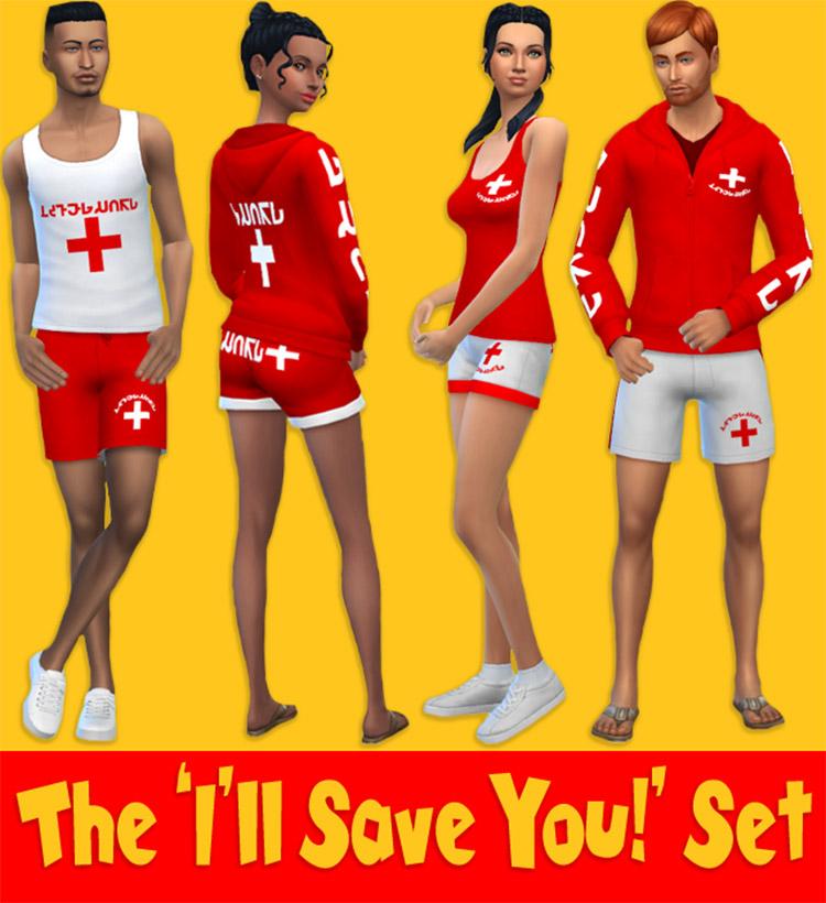 Lifeguard Clothes 'Ill Save You' Set / TS4 CC