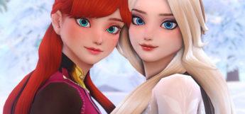 Disney-style Frozen Anna & Elsa in The Sims 4