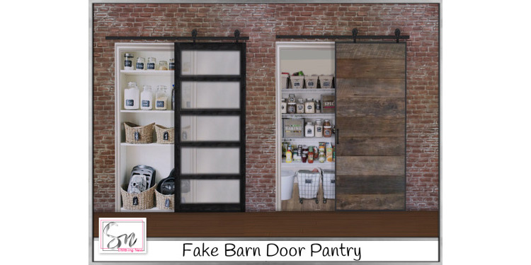 Fake Barn Door Pantry for The Sims 4