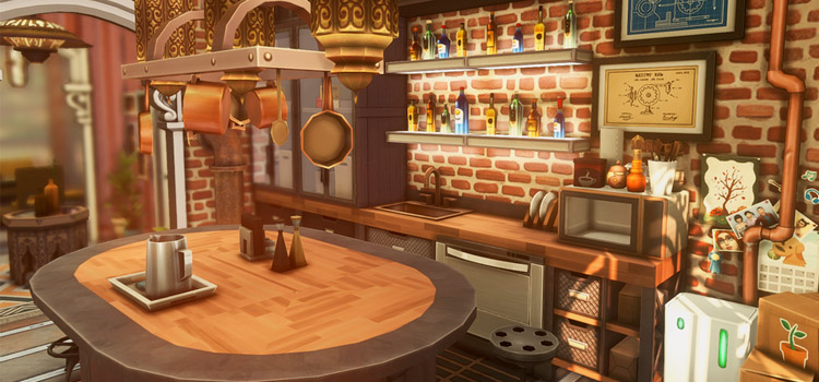 Steampunk-style Kitchen Interior in The Sims 4