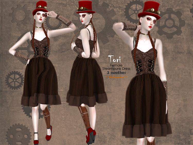 Tori Steampunk Dress for Sims 4