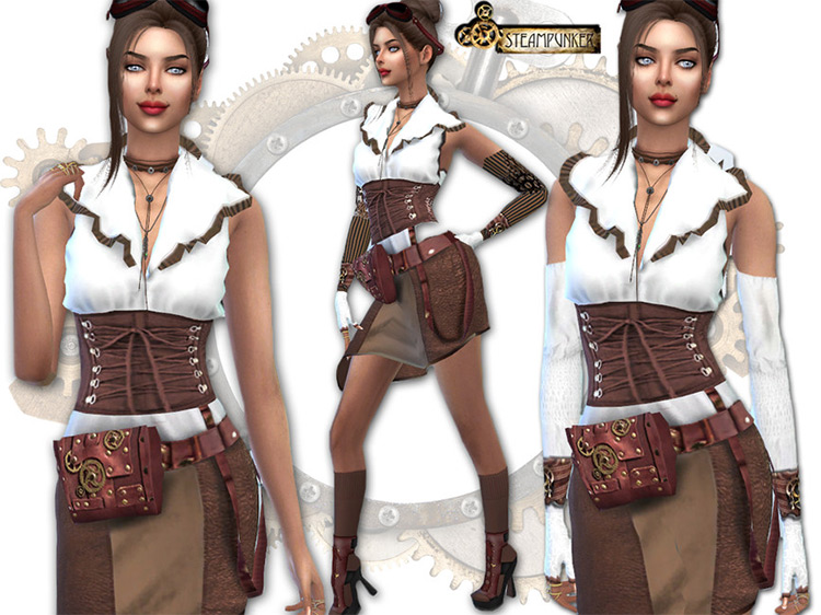 Steampunk Cinched Dress for Sims 4