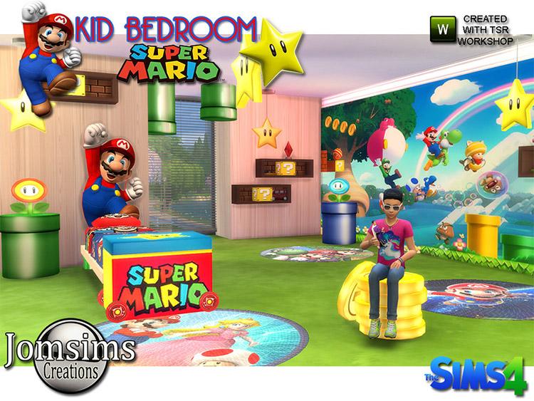 Super Mario Kids Bedroom Decor CC / Sims 4