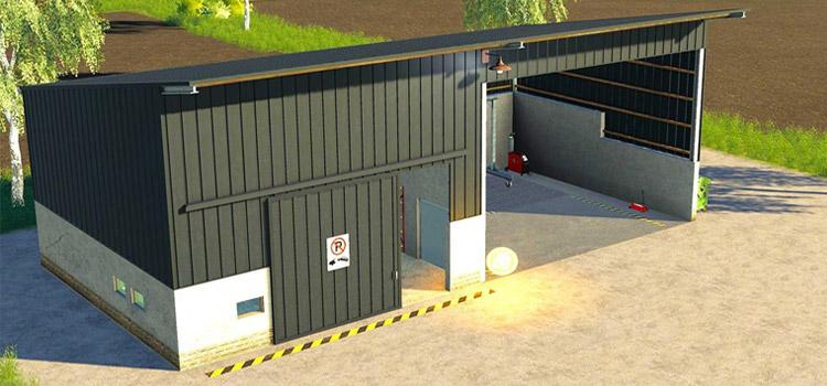 Black Exterior Garage Workshop Building Mod for FS19