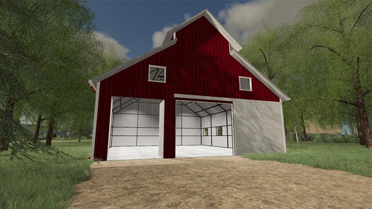 Big red barn garage storage in FS19