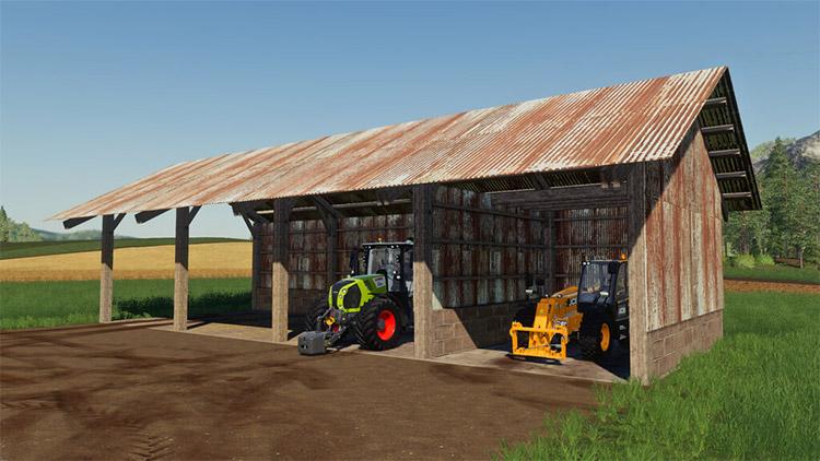 Old garage for equipment storage in FS19