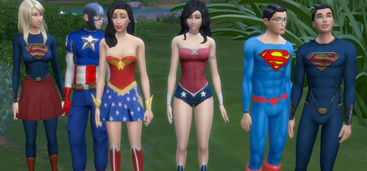 Superhero Costumes in Sims 4 - Capt America, Superman, Wonder Woman, Supergirl