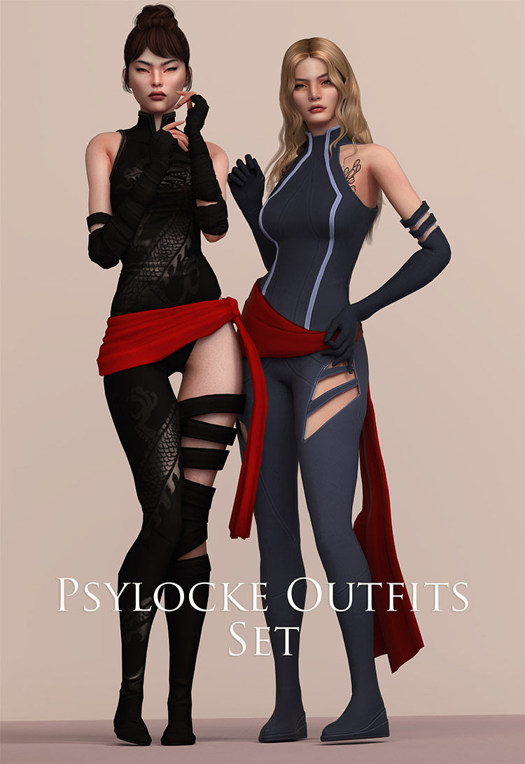 Psylocke Costume Preview CC for The Sims 4