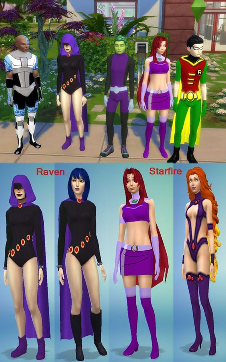 Teen Titans CC Costumes for The Sims 4