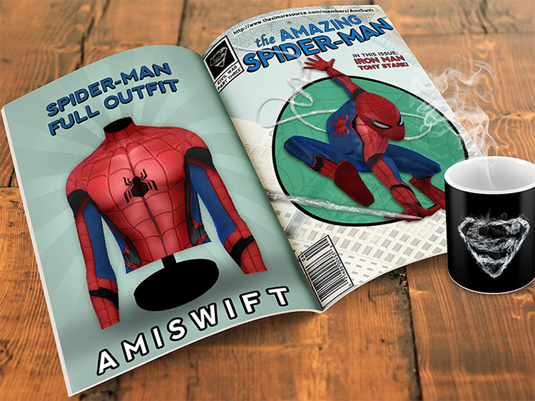 Spiderman outfit preview CC / Sims 4