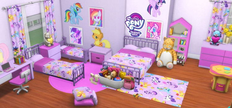 Pink Bedroom Designed with MLP CC / Sims 4