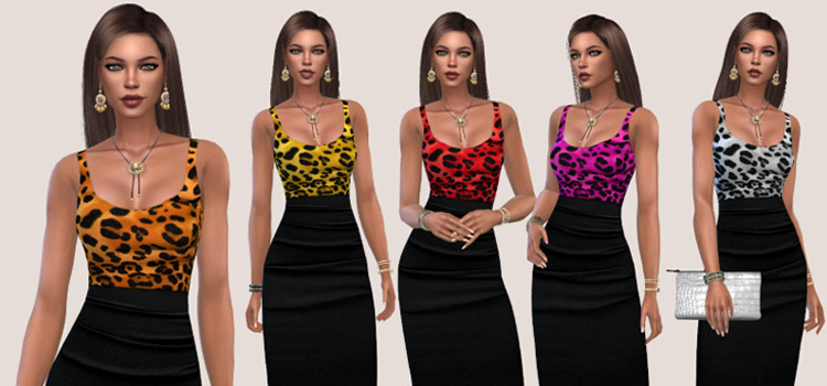 Colorful Leopard Print Tops / TS4 CC Preview