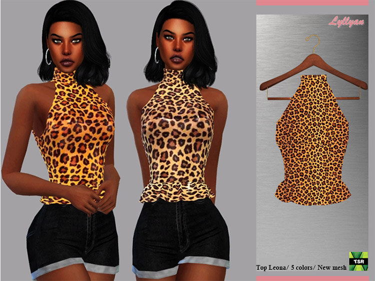 Leona Leopard Print Top for Girls / Sims 4 CC