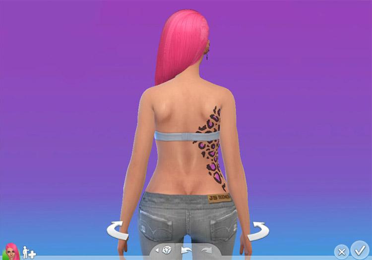 Upper Torso Cheetah Print Tattoo for The Sims 4