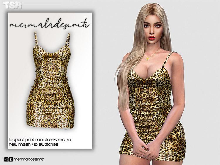Leopard Print Mini-dress CC for The Sims 4