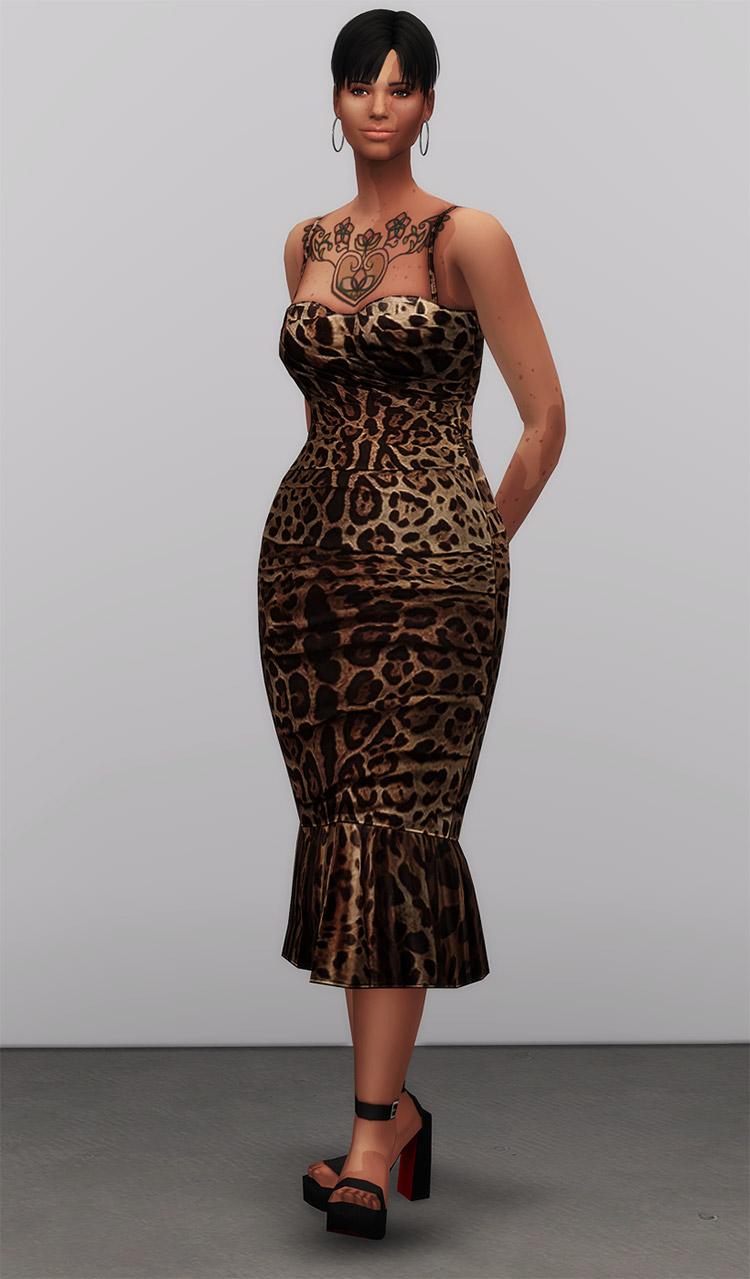 Dolce & Gabbana Leopard Print Dress / Sims 4 CC
