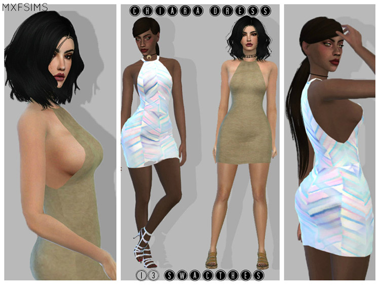 Chiara Dress CC with Tight Design for The Sims 4