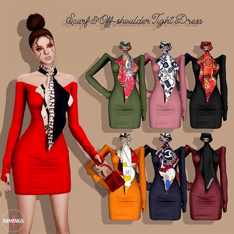Scarf & Off Shoulder Dress CC / Sims 4