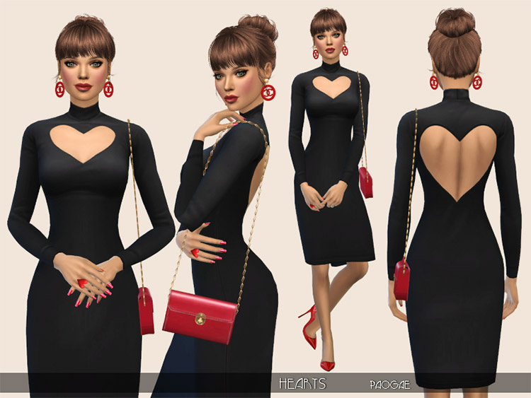 Hearts Dress Design CC for The Sims 4