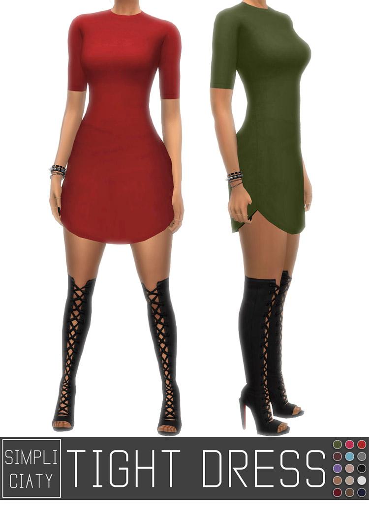 Tight Dress v2 CC by Simpliciaty / Sims 4