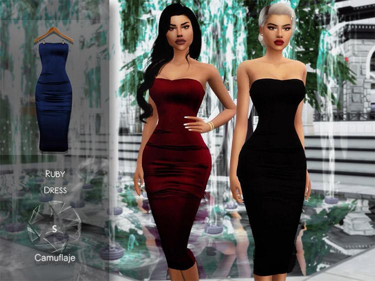 Tight Fancy Dress / Ruby Dress CC for TS4