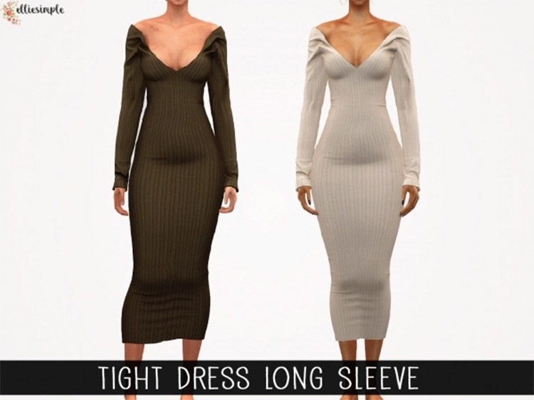 Tight Dress with Long Sleeves / Sims 4 CC