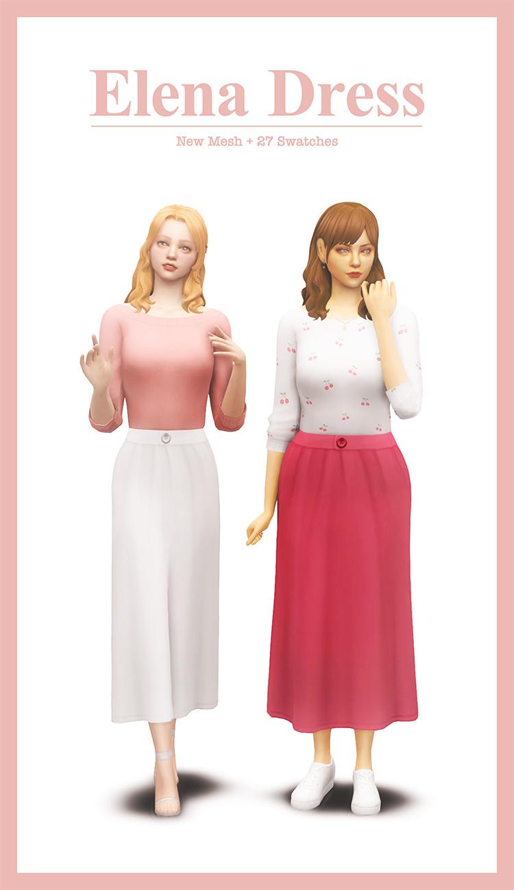 Elena Dress CC for Sims 4
