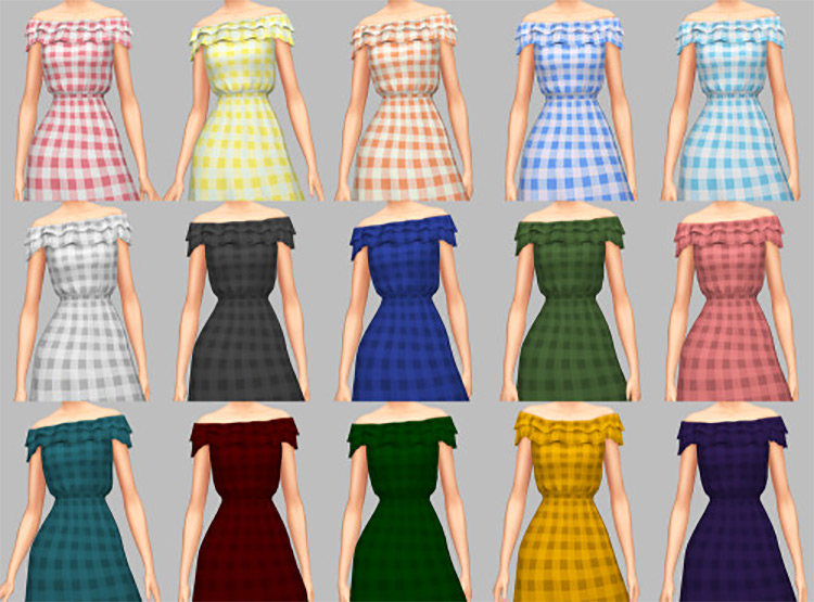 All Ruffled Up Dress CC for Sims 4