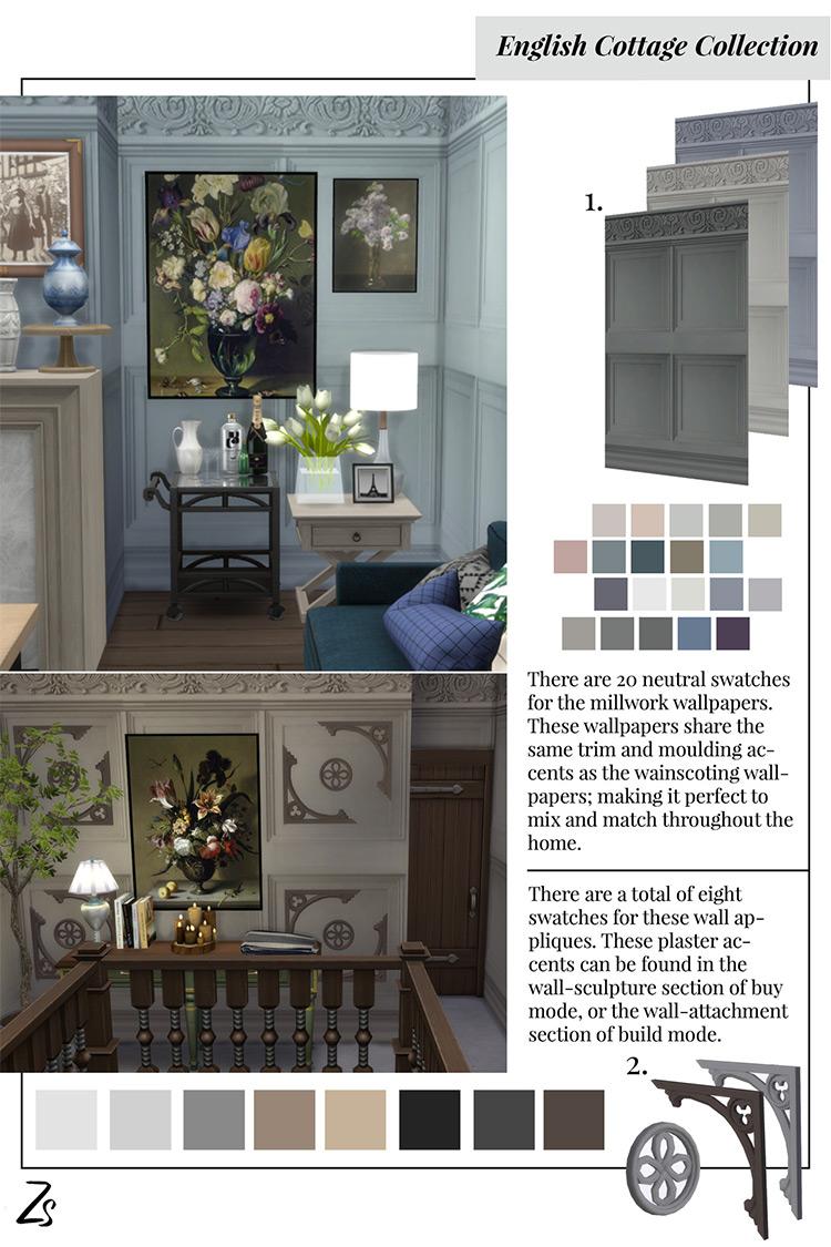 English Cottage Millwork Wallpaper & Appliques / TS4 CC