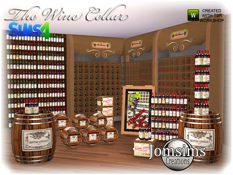 Wine Cellar CC Stuff for The Sims 4