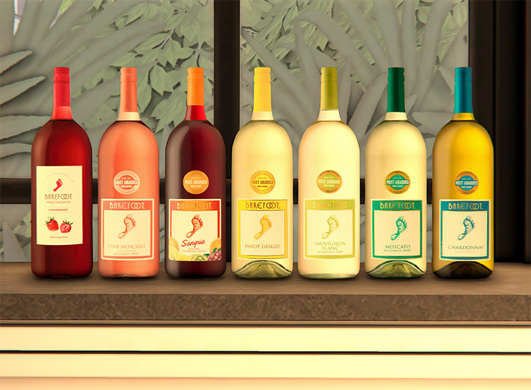 Barefoot Branded Alcohol Deco Bottles / Sims 4 CC