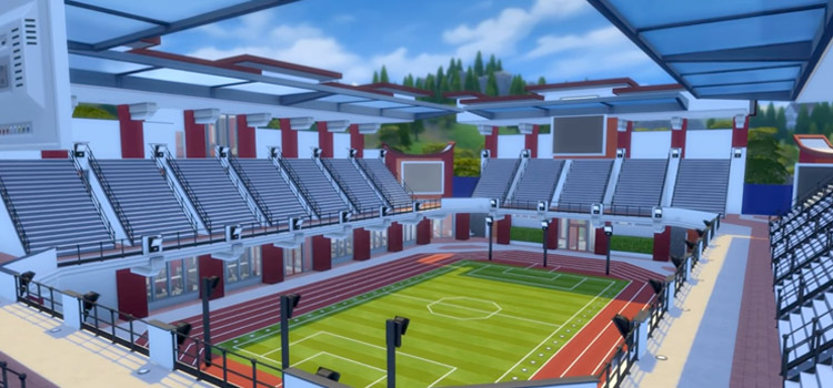 Football stadium build in The Sims 4