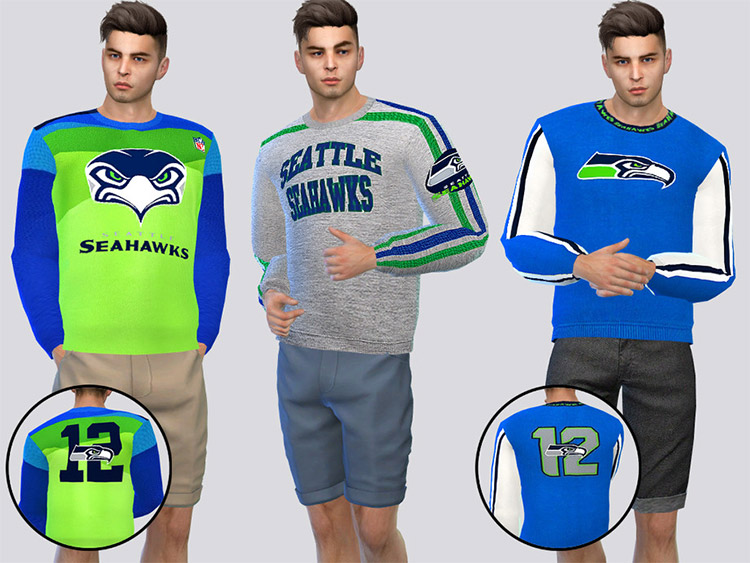 Seattle Seahawks Crewneck CC for The Sims 4