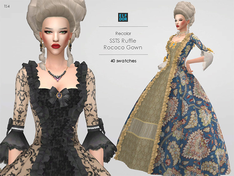Ruffle Rococo Dress Old Timey Style / Sims 4 CC