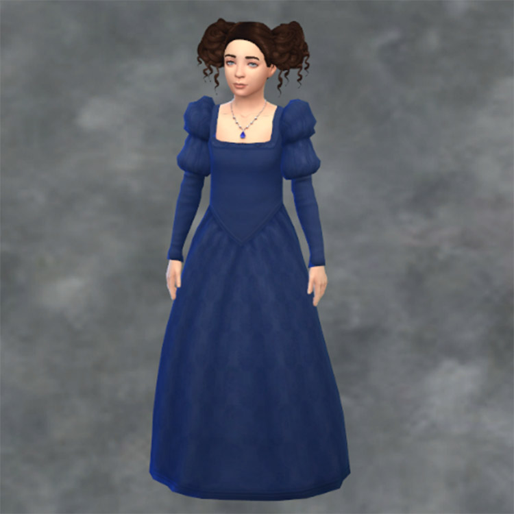 Long blue dress with puffy sleeves / Sims 4 CC