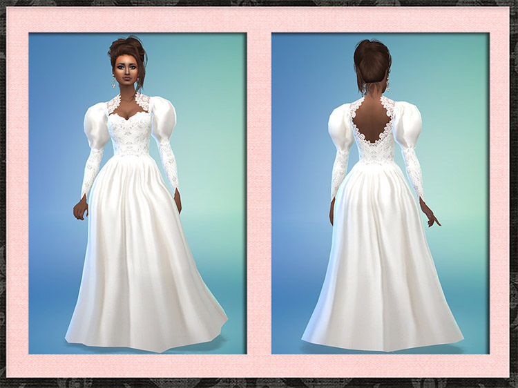 Wedding Dress with puffy sleeves / Sims 4 CC