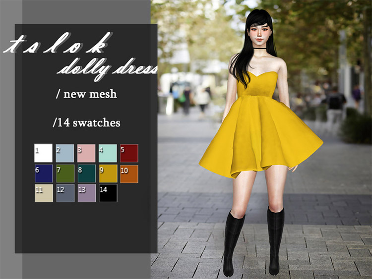 Cute yellow skirt/dress outfit / Sims 4 CC